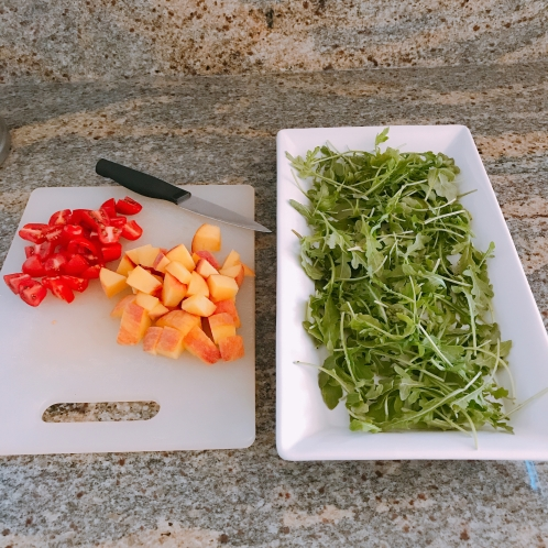 arugula nd chopped tomatoes & peaches
