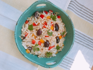 Grilled Mediterraean orzo salad