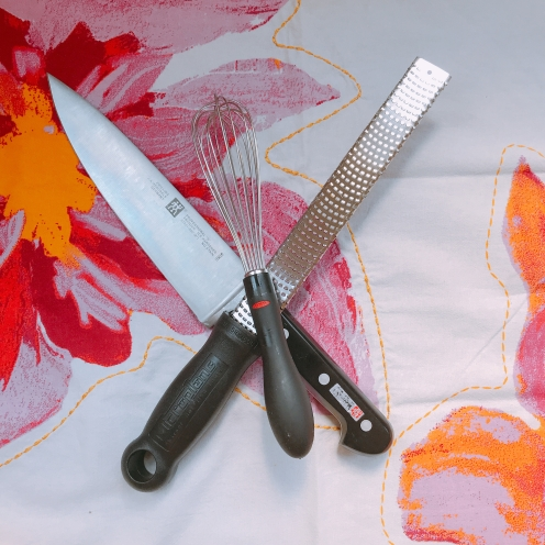The knife ran away with the whisk and microplane...
