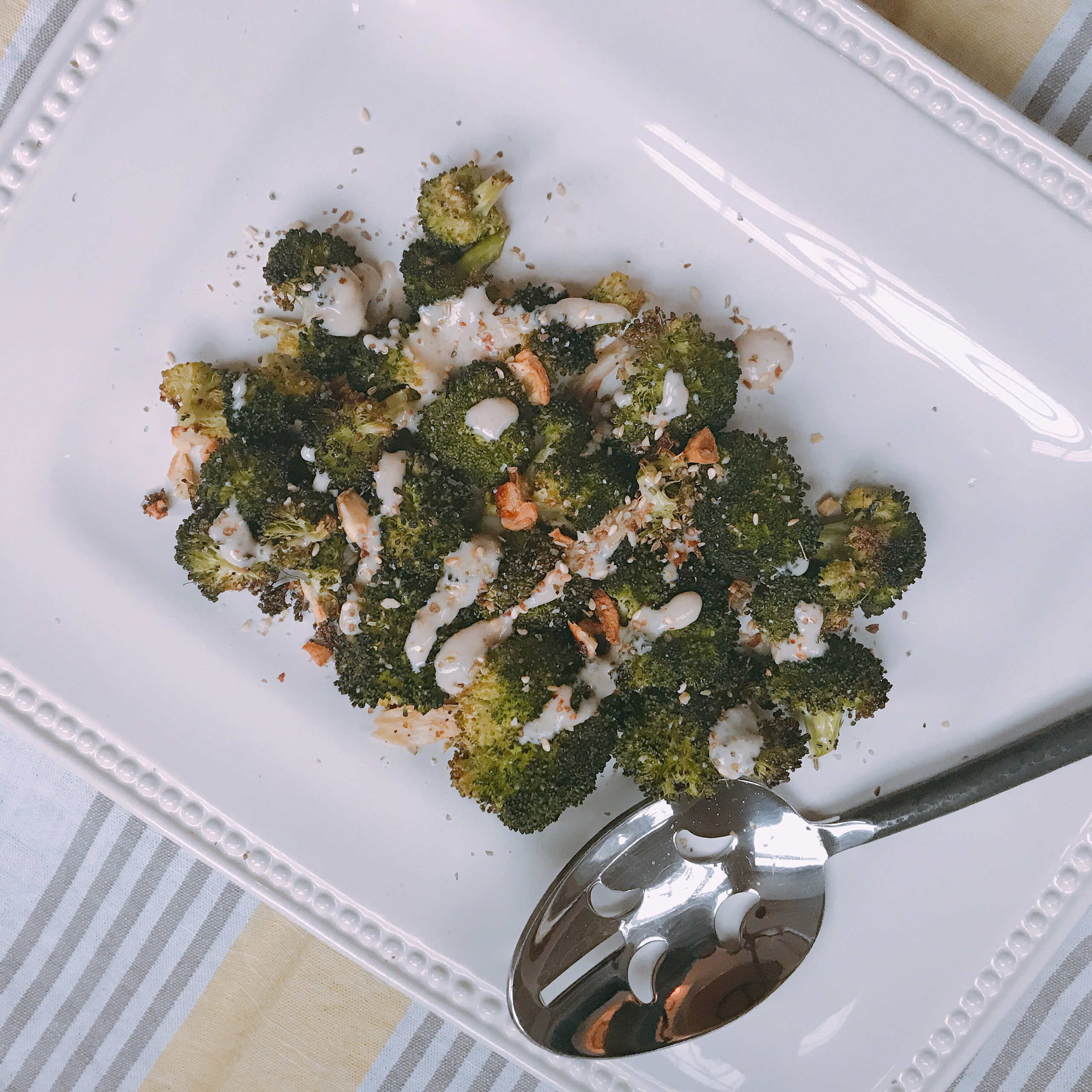 Roasted Broccoli with tahini dressing and Dukkah.
